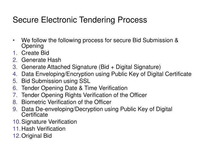 Secure Electronic Tendering Process