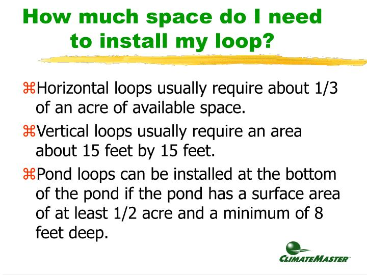 How much space do I need to install my loop?