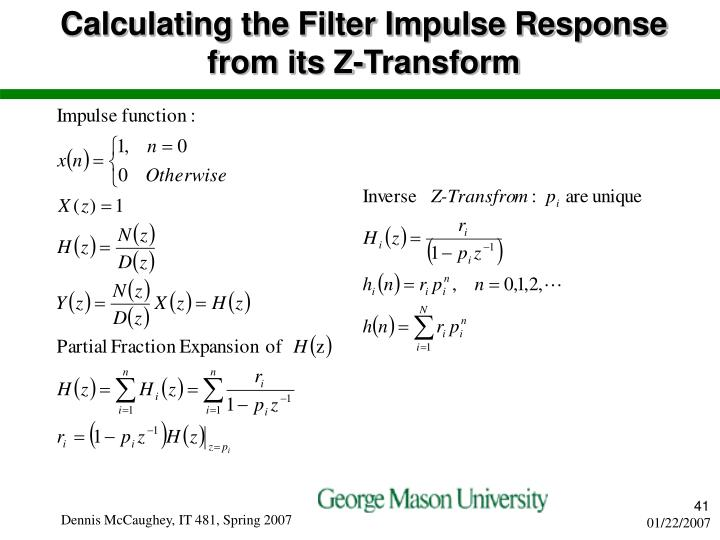 Calculating the Filter Impulse Response from its Z-Transform