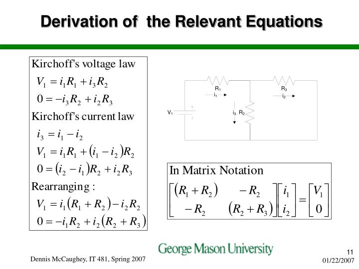 Derivation of  the Relevant Equations