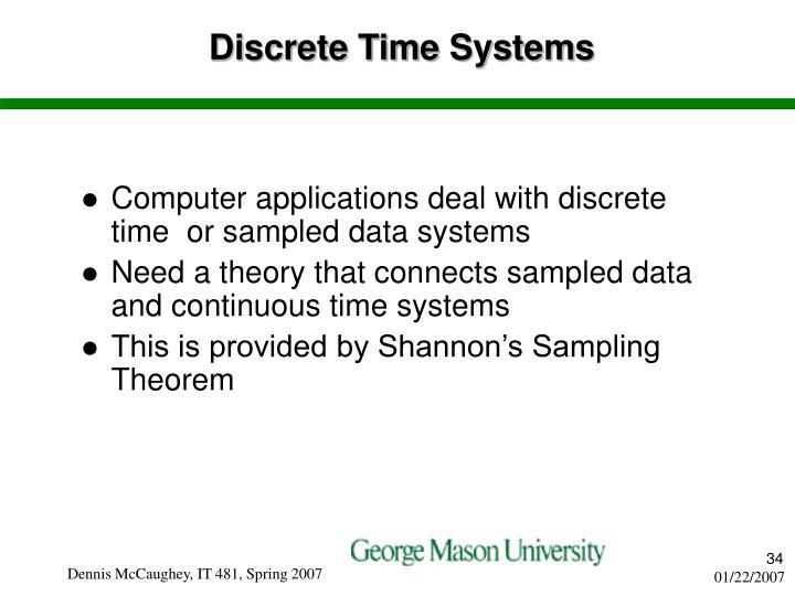 Discrete Time Systems