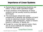 importance of linear systems