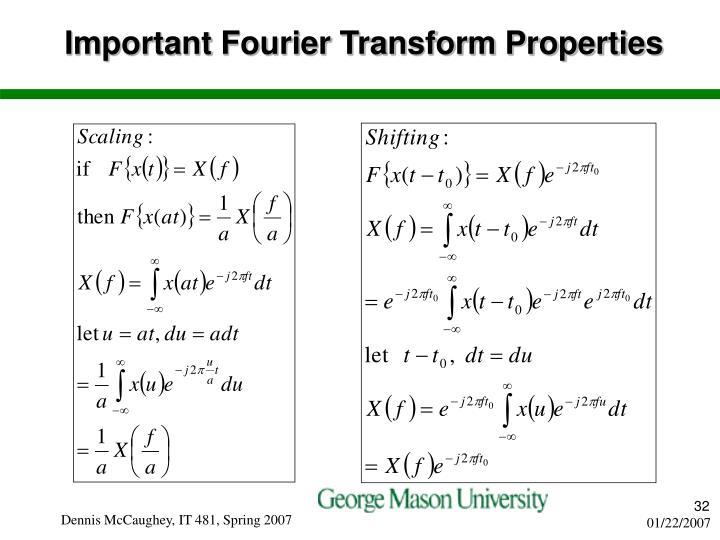 Important Fourier Transform Properties