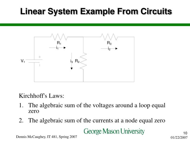 Linear System Example From Circuits