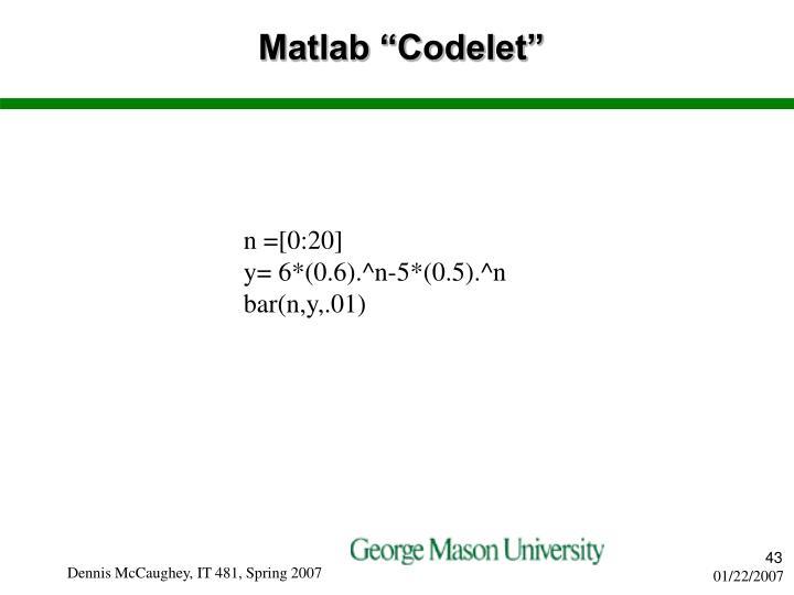 """Matlab """"Codelet"""""""
