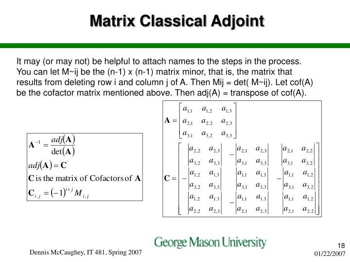 Matrix Classical Adjoint