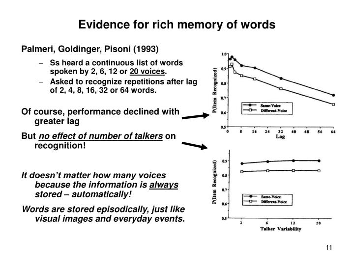 Evidence for rich memory of words