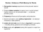 review evidence of rich memory for words