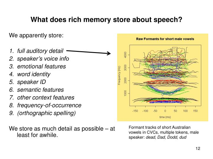 What does rich memory store about speech?