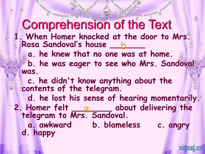 Comprehension of the Text