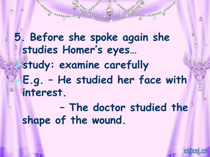 5. Before she spoke again she studies Homer's eyes…
