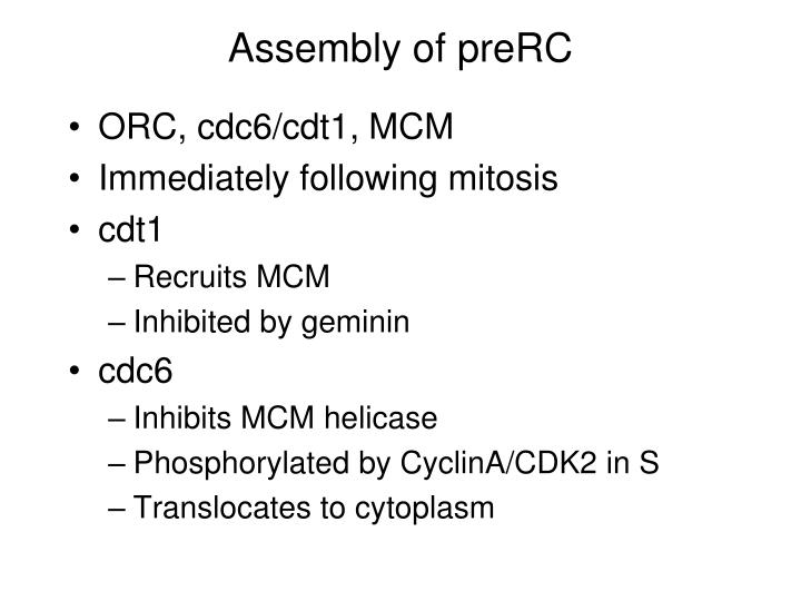 Assembly of preRC