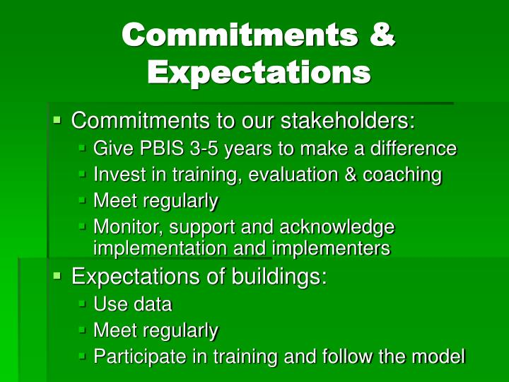 Commitments & Expectations