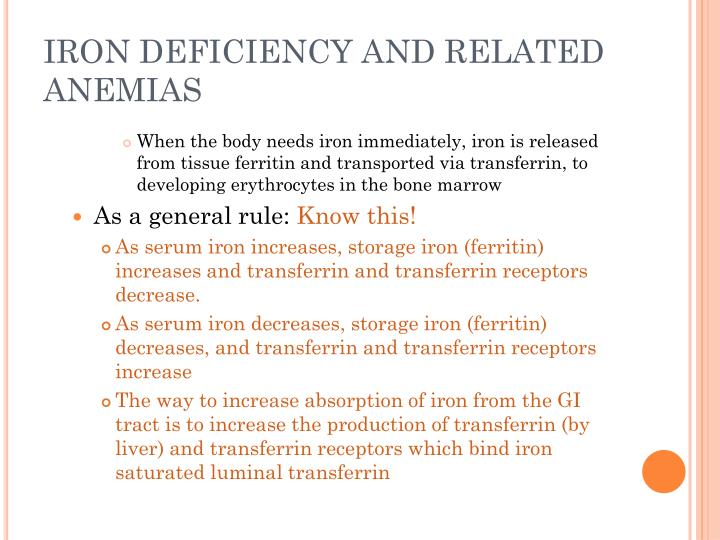 IRON DEFICIENCY AND RELATED ANEMIAS