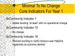 minimal to no change core indicators for year 1