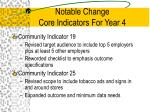 notable change core indicators for year 4