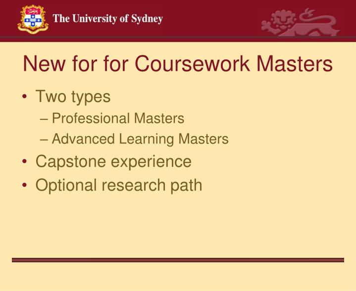 New for for Coursework Masters