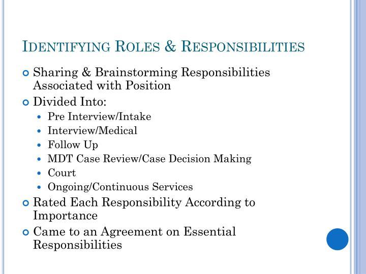 Identifying Roles & Responsibilities