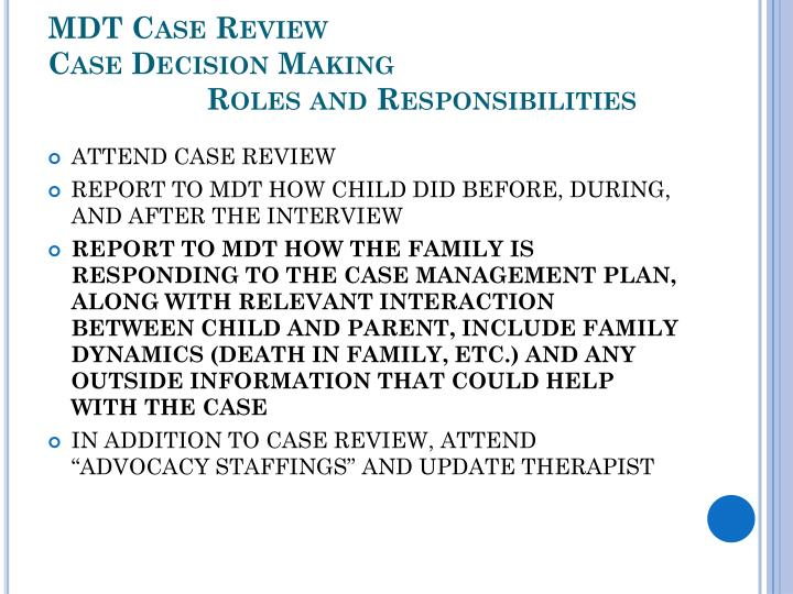 MDT Case Review