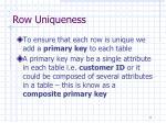 row uniqueness