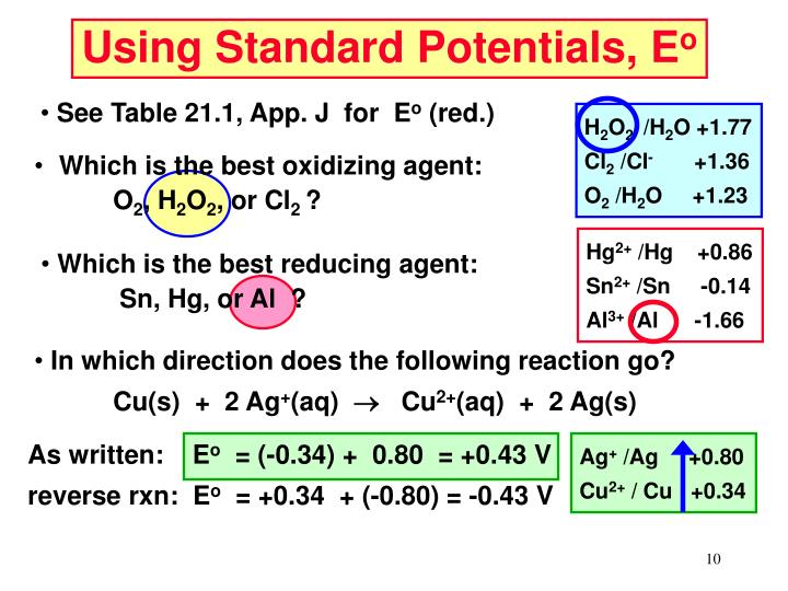 Using Standard Potentials, E