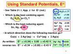 using standard potentials e o