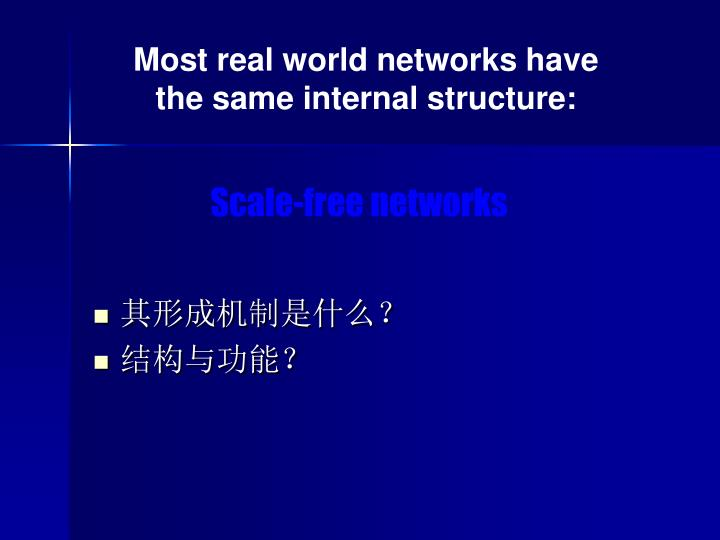 Most real world networks have the same internal structure: