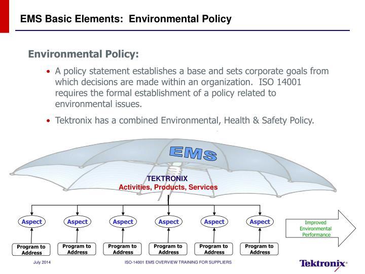 EMS Basic Elements:  Environmental Policy