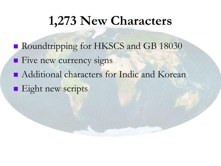 1,273 New Characters