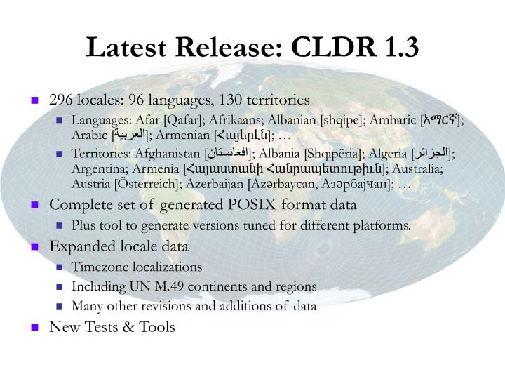 Latest Release: CLDR 1.3
