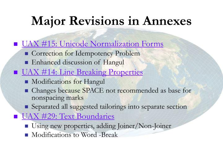 Major Revisions in Annexes