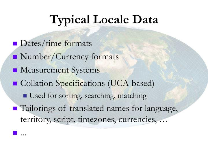 Typical Locale Data
