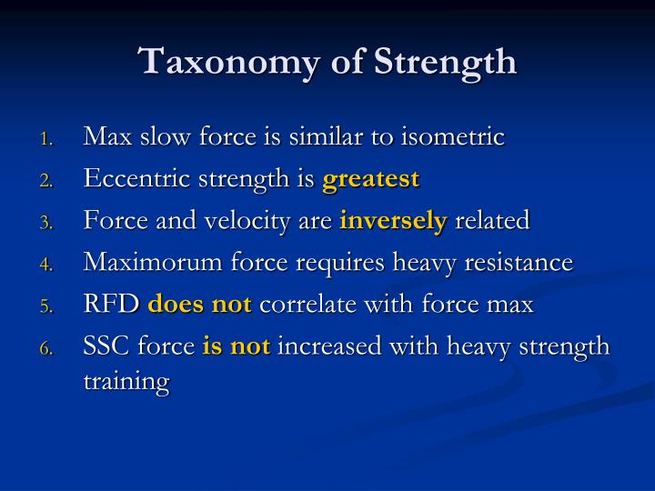 Taxonomy of Strength