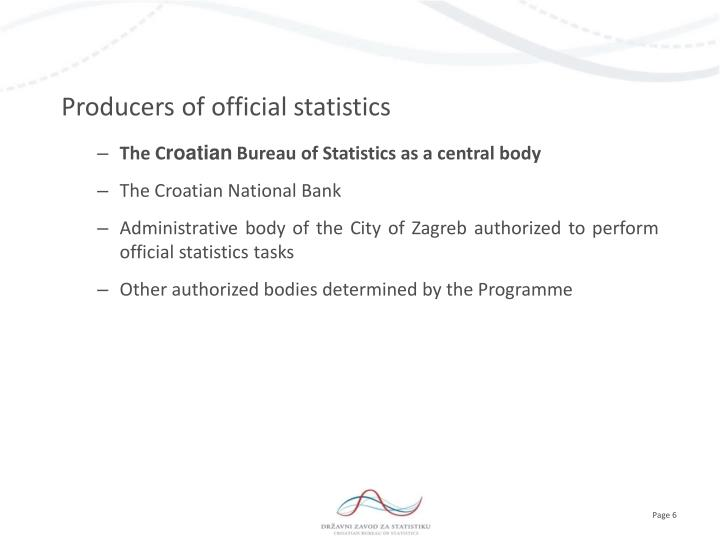Producers of official statistics