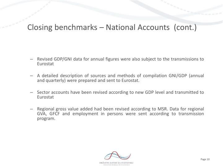 Closing benchmarks