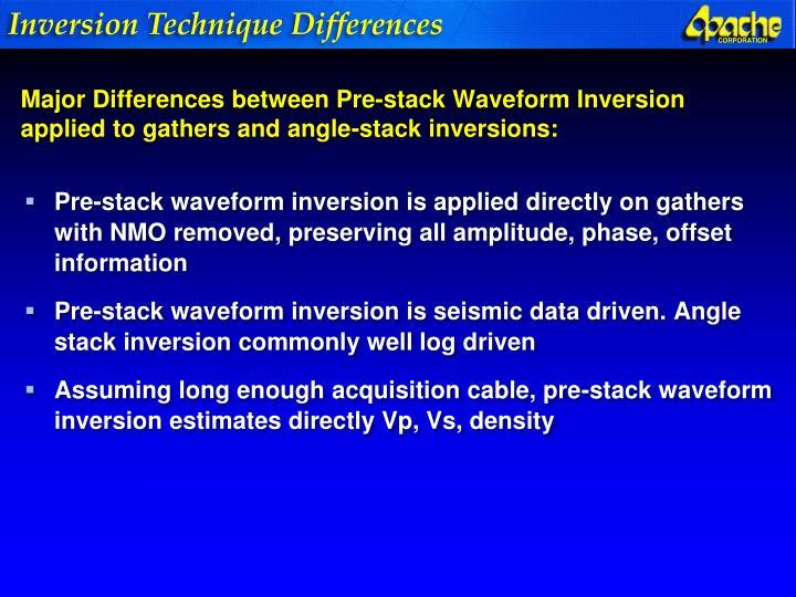 Inversion Technique Differences