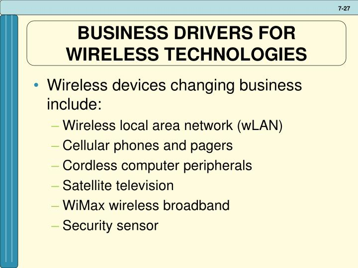 BUSINESS DRIVERS FOR WIRELESS TECHNOLOGIES
