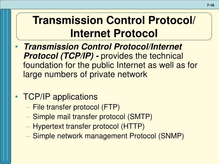 Transmission Control Protocol/ Internet Protocol