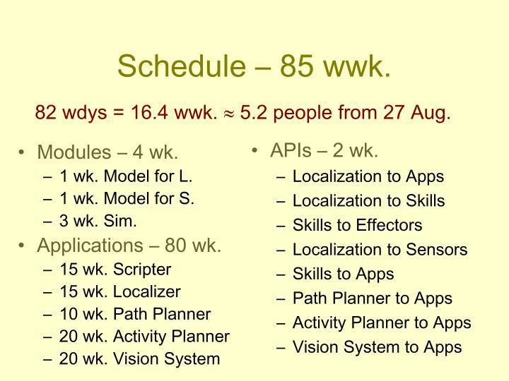 Schedule – 85 wwk.