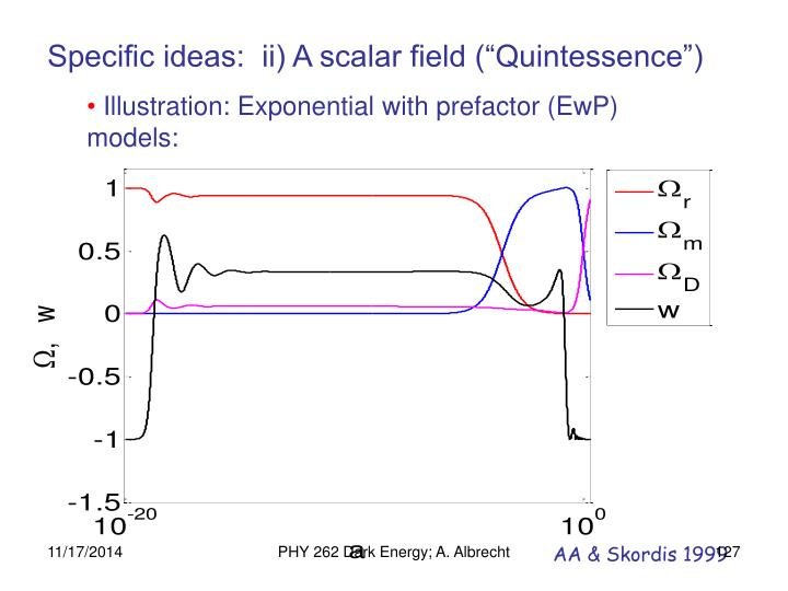 "Specific ideas:  ii) A scalar field (""Quintessence"")"