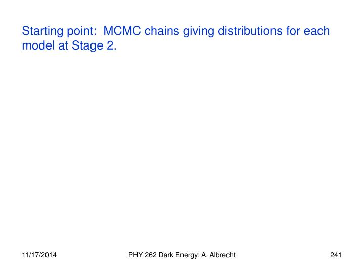 Starting point:  MCMC chains giving distributions for each model at Stage 2.