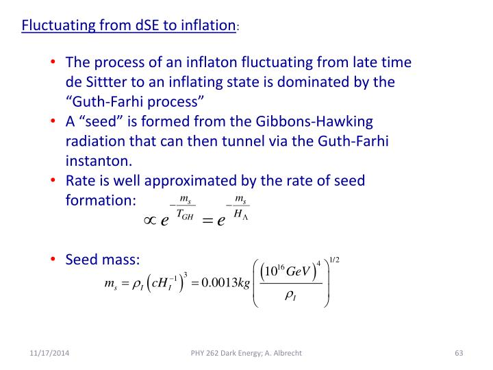 Fluctuating from dSE to inflation