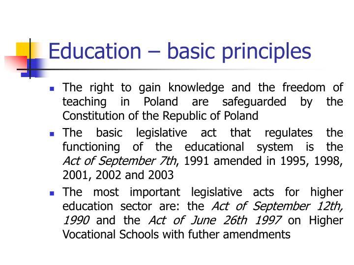 Education – basic principles