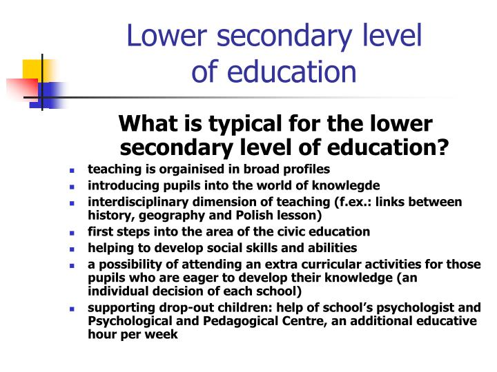 Lower secondary level