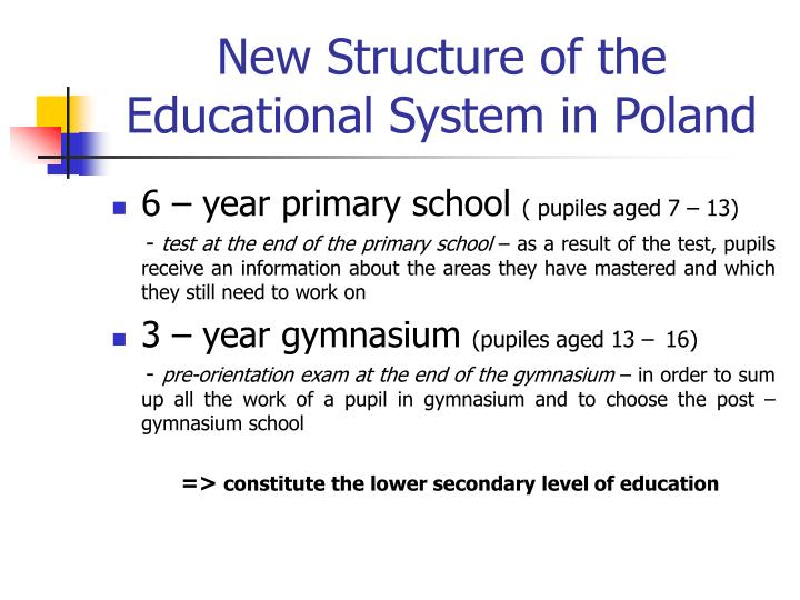 New Structure of the Educational System in Poland