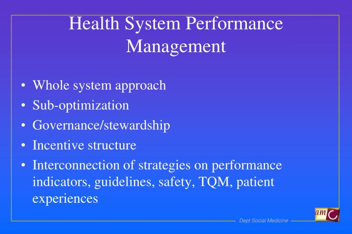 Health System Performance Management