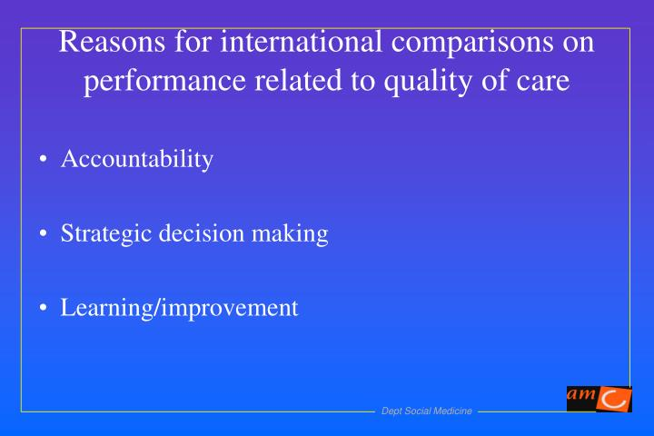 Reasons for international comparisons on performance related to quality of care