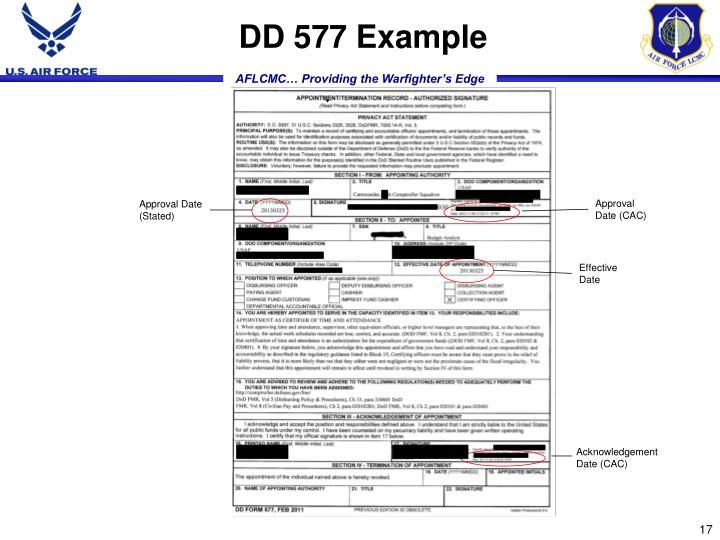 DD 577 Example