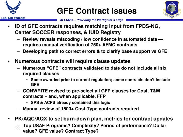 GFE Contract Issues