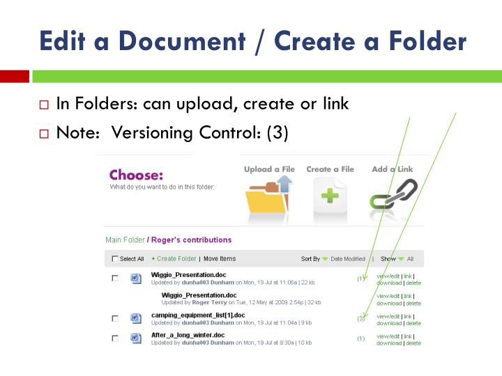 Edit a Document / Create a Folder